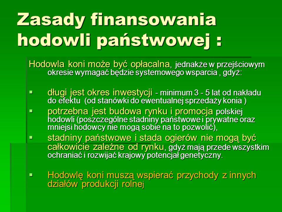 Zasady finansowania hodowli państwowej : Hodowla koni może być opłacalna, jednakże w przejściowym okresie wymagać będzie systemowego wsparcia, gdyż:  długi jest okres inwestycji - minimum 3 - 5 lat od nakładu do efektu (od stanówki do ewentualnej sprzedaży konia )  potrzebna jest budowa rynku i promocja polskiej hodowli (poszczególne stadniny państwowe i prywatne oraz mniejsi hodowcy nie mogą sobie na to pozwolić),  stadniny państwowe i stada ogierów nie mogą być całkowicie zależne od rynku, gdyż mają przede wszystkim ochraniać i rozwijać krajowy potencjał genetyczny.