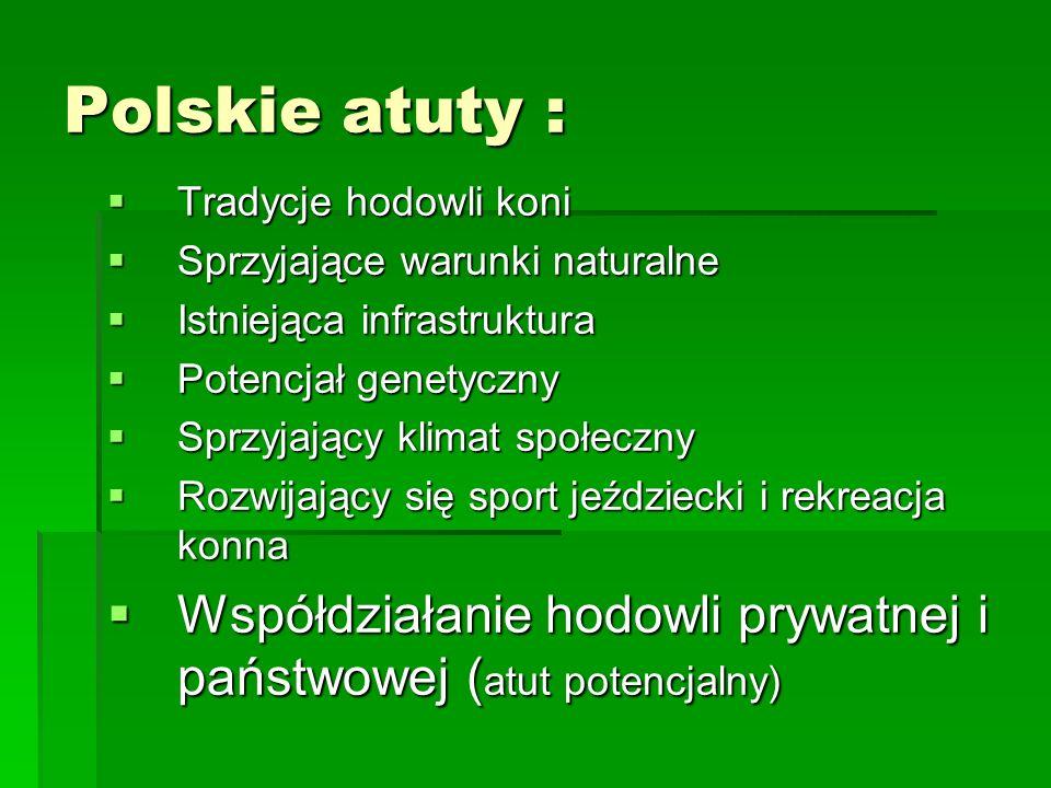 Polskie atuty :  Tradycje hodowli koni  Sprzyjające warunki naturalne  Istniejąca infrastruktura  Potencjał genetyczny  Sprzyjający klimat społeczny  Rozwijający się sport jeździecki i rekreacja konna  Współdziałanie hodowli prywatnej i państwowej ( atut potencjalny)