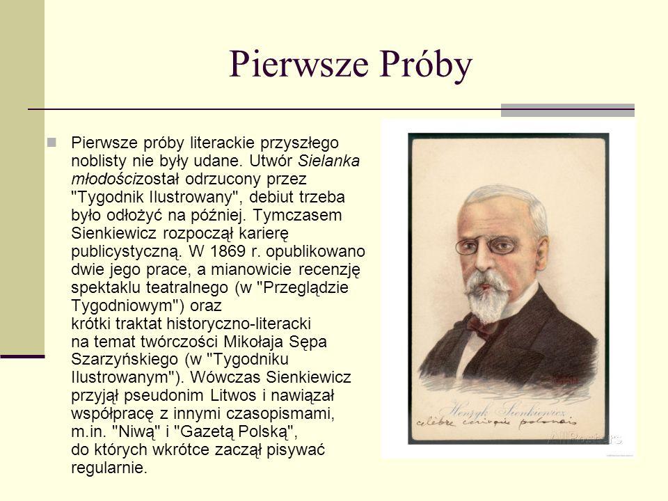 Henryk Sienkiewicz - studia Rodzice zaplanowali dla syna karierę lekarską. Sienkiewicz nie miał dość silnej woli, by się im sprzeciwić i, wbrew swoim