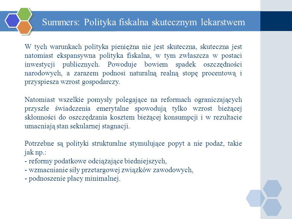 Summers: Polityka fiskalna skutecznym lekarstwem W tych warunkach polityka pieniężna nie jest skuteczna, skuteczna jest natomiast ekspansywna polityka fiskalna, w tym zwłaszcza w postaci inwestycji publicznych.