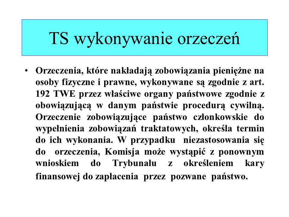 TS wykonywanie orzeczeń Orzeczenia, które nakładają zobowiązania pieniężne na osoby fizyczne i prawne, wykonywane są zgodnie z art. 192 TWE przez właś