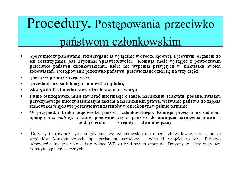 Procedury. Postępowania przeciwko państwom członkowskim Spory między państwami rozstrzygane są wyłącznie w drodze sądowej, a jedynym organem do ich ro