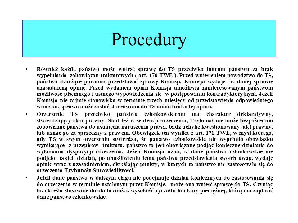 Procedury Również każde państwo może wnieść sprawę do TS przeciwko innemu państwu za brak wypełniania zobowiązań traktatowych ( art. 170 TWE ). Przed