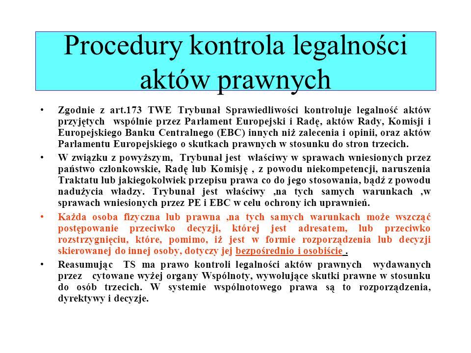 Procedury kontrola legalności aktów prawnych Zgodnie z art.173 TWE Trybunał Sprawiedliwości kontroluje legalność aktów przyjętych wspólnie przez Parla