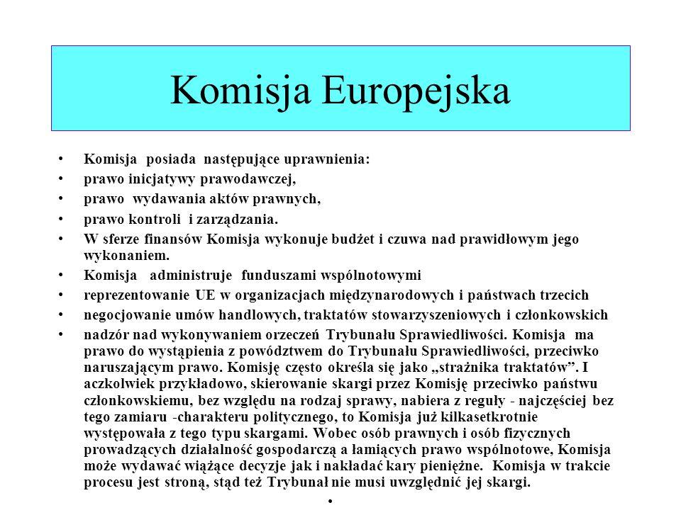 Komisja Europejska Komisja posiada następujące uprawnienia: prawo inicjatywy prawodawczej, prawo wydawania aktów prawnych, prawo kontroli i zarządzani