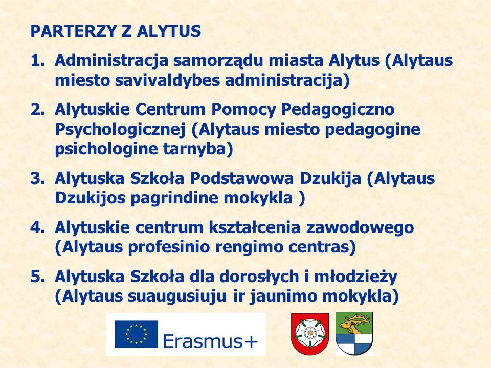 PARTERZY Z ALYTUS 1.Administracja samorządu miasta Alytus (Alytaus miesto savivaldybes administracija) 2.Alytuskie Centrum Pomocy Pedagogiczno Psychol