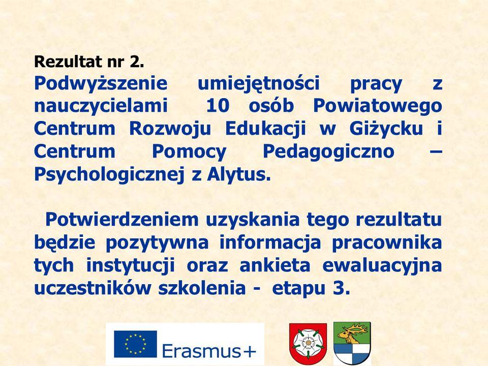 Rezultat nr 2. Podwyższenie umiejętności pracy z nauczycielami 10 osób Powiatowego Centrum Rozwoju Edukacji w Giżycku i Centrum Pomocy Pedagogiczno –