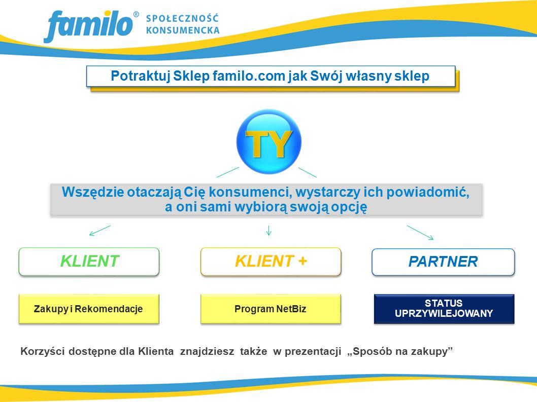 """Potraktuj Sklep familo.com jak Swój własny sklep Wszędzie otaczają Cię konsumenci, wystarczy ich powiadomić, a oni sami wybiorą swoją opcję Wszędzie otaczają Cię konsumenci, wystarczy ich powiadomić, a oni sami wybiorą swoją opcję KLIENT + KLIENT Zakupy i Rekomendacje Program NetBiz STATUS UPRZYWILEJOWANY PARTNER Korzyści dostępne dla Klienta znajdziesz także w prezentacji """"Sposób na zakupy"""