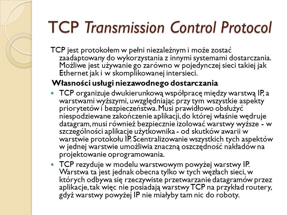 TCP Transmission Control Protocol TCP jest protokołem w pełni niezależnym i może zostać zaadaptowany do wykorzystania z innymi systemami dostarczania.
