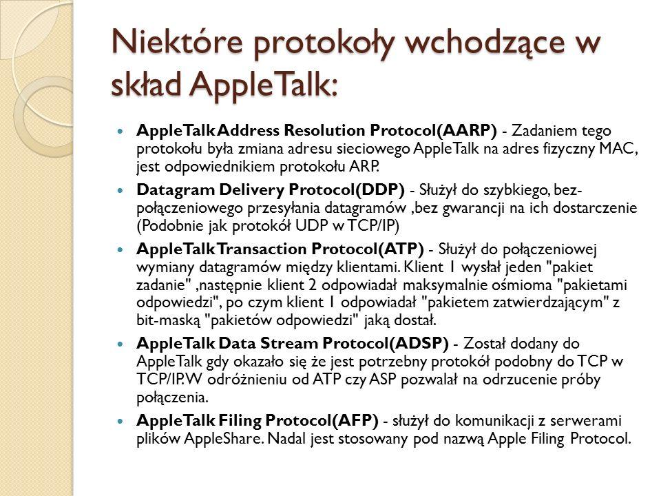 Niektóre protokoły wchodzące w skład AppleTalk: AppleTalk Address Resolution Protocol(AARP) - Zadaniem tego protokołu była zmiana adresu sieciowego AppleTalk na adres fizyczny MAC, jest odpowiednikiem protokołu ARP.