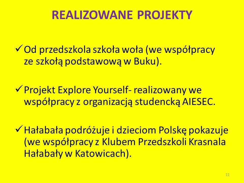 REALIZOWANE PROJEKTY Od przedszkola szkoła woła (we współpracy ze szkołą podstawową w Buku).