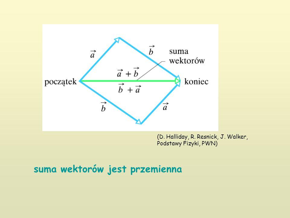 suma wektorów jest przemienna (D. Halliday, R. Resnick, J. Walker, Podstawy Fizyki, PWN)