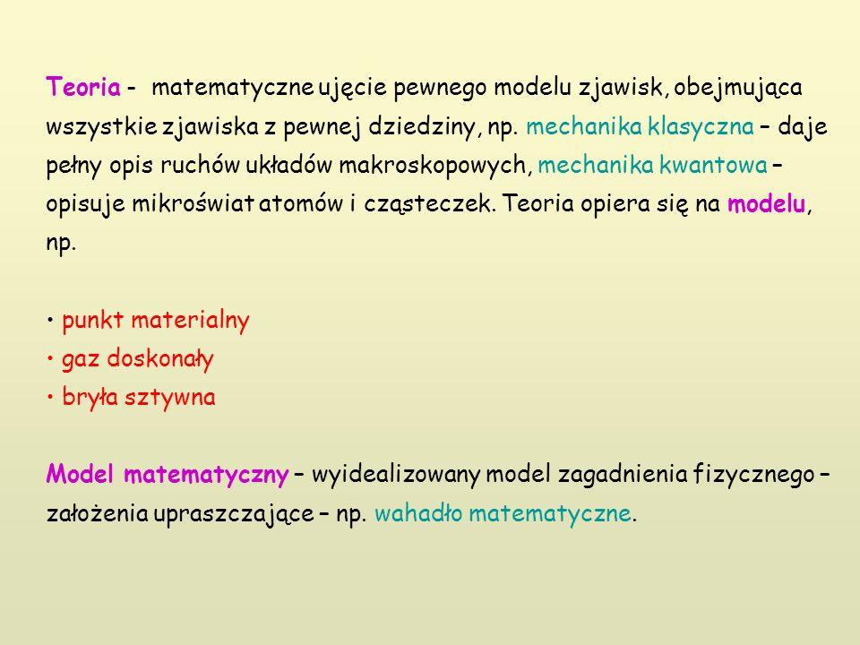 Teoria - matematyczne ujęcie pewnego modelu zjawisk, obejmująca wszystkie zjawiska z pewnej dziedziny, np. mechanika klasyczna – daje pełny opis ruchó