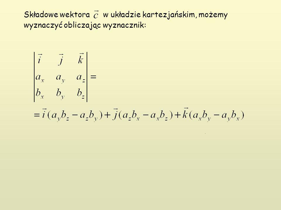 Składowe wektora w układzie kartezjańskim, możemy wyznaczyć obliczając wyznacznik:.