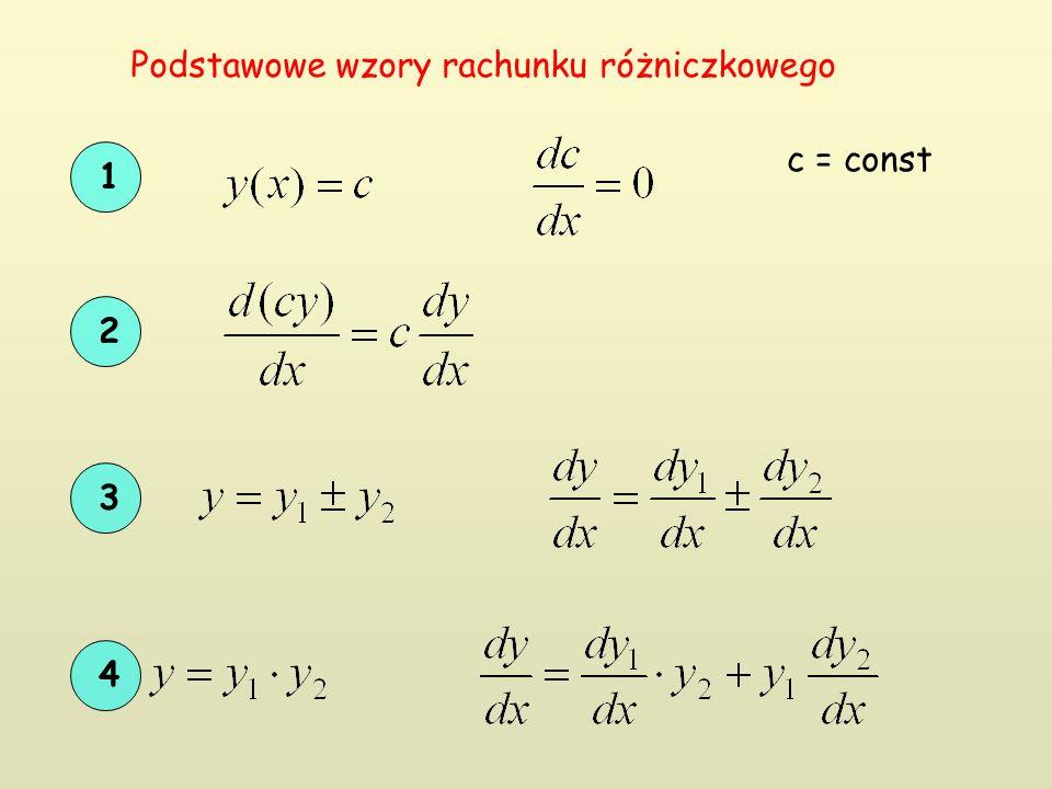 1 c = const 2 3 4 Podstawowe wzory rachunku różniczkowego