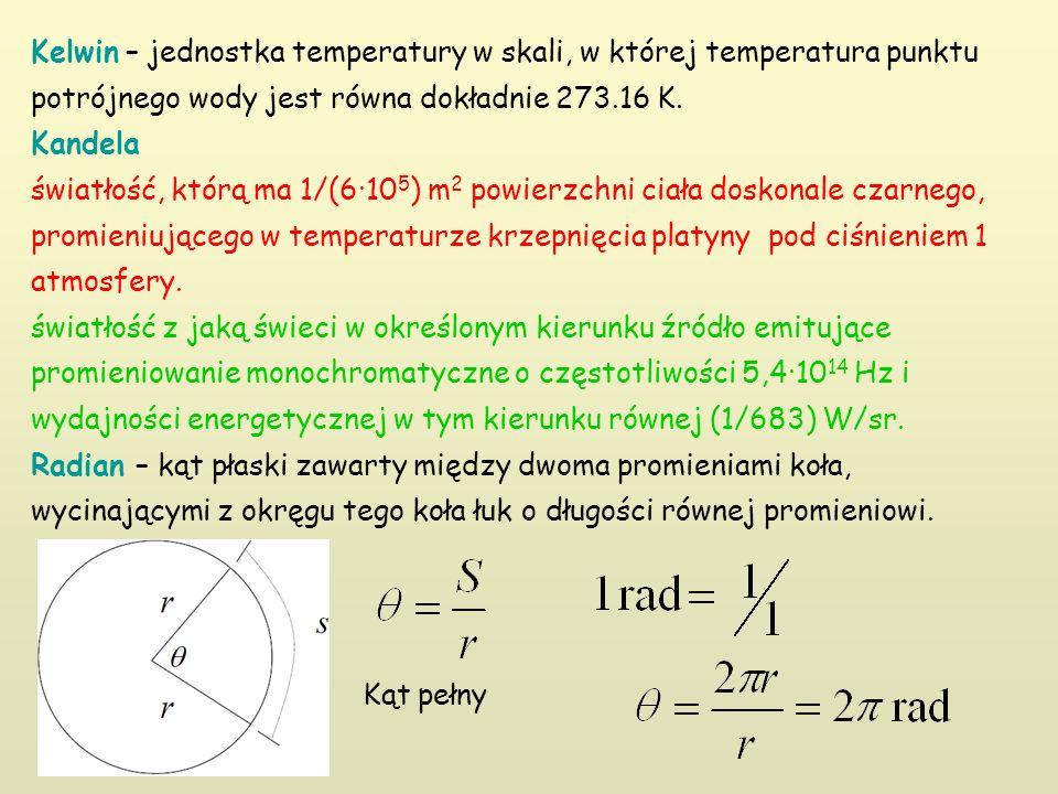 Kelwin – jednostka temperatury w skali, w której temperatura punktu potrójnego wody jest równa dokładnie 273.16 K. Kandela światłość, którą ma 1/(6·10