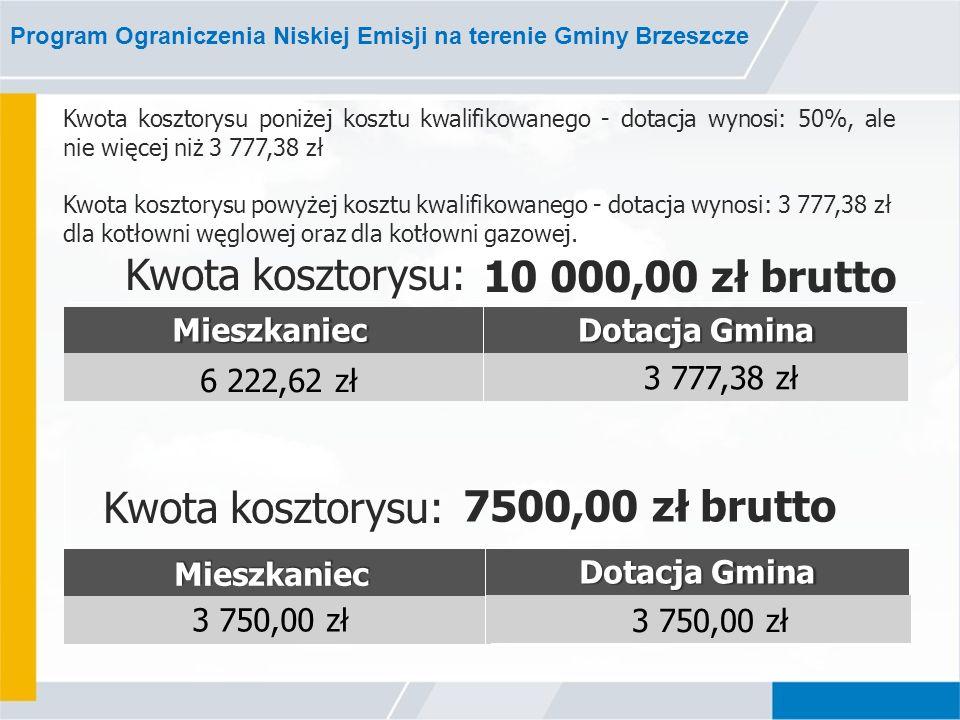 Program Ograniczenia Niskiej Emisji na terenie Gminy Brzeszcze Kwota kosztorysu: 10 000,00 zł brutto MieszkaniecDotacja Gmina 6 222,62 zł 3 777,38 zł