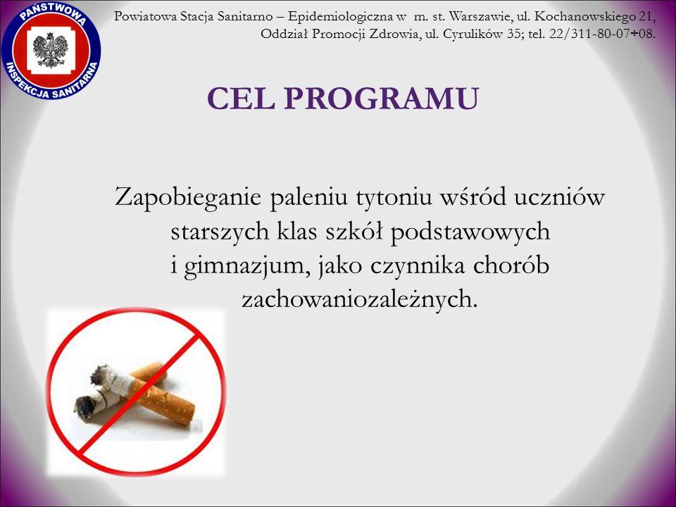 CEL PROGRAMU Zapobieganie paleniu tytoniu wśród uczniów starszych klas szkół podstawowych i gimnazjum, jako czynnika chorób zachowaniozależnych. Powia