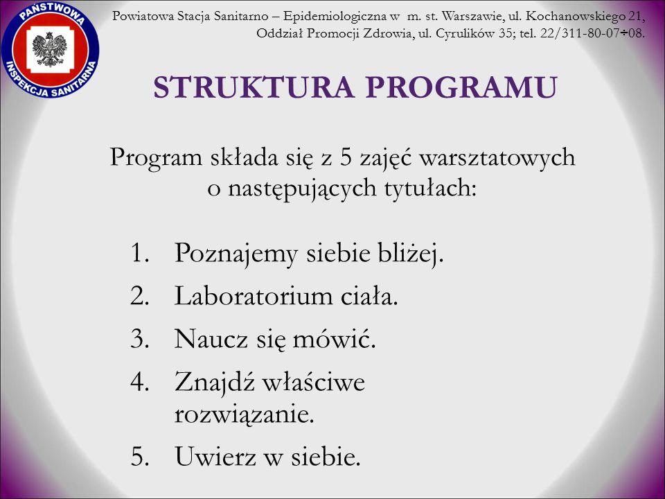 STRUKTURA PROGRAMU 1.Poznajemy siebie bliżej. 2.Laboratorium ciała. 3.Naucz się mówić. 4.Znajdź właściwe rozwiązanie. 5.Uwierz w siebie. Program skład