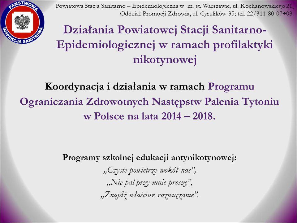 Działania Powiatowej Stacji Sanitarno- Epidemiologicznej w ramach profilaktyki nikotynowej Koordynacja i dzia ł ania w ramach Programu Ograniczania Zd