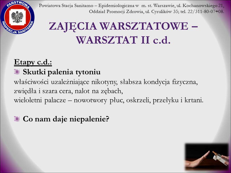 ZAJĘCIA WARSZTATOWE – WARSZTAT II c.d. Etapy c.d.: Skutki palenia tytoniu właściwości uzależniające nikotyny, słabsza kondycja fizyczna, zwiędła i sza