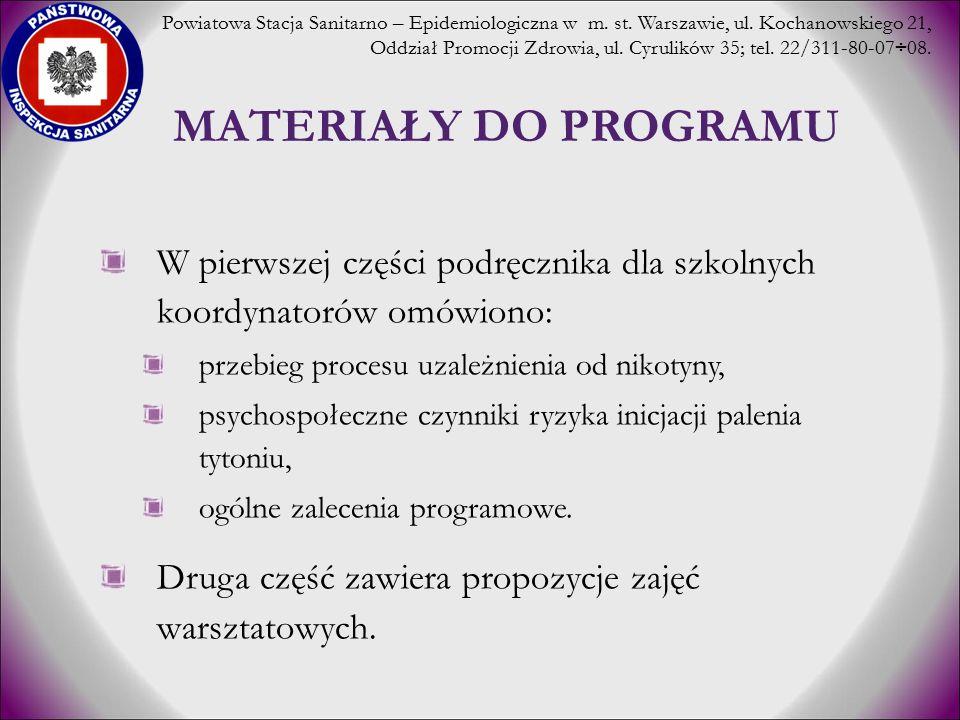 MATERIAŁY DO PROGRAMU W pierwszej części podręcznika dla szkolnych koordynatorów omówiono: przebieg procesu uzależnienia od nikotyny, psychospołeczne