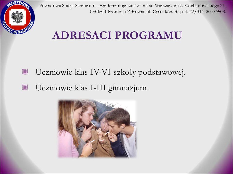 PIERWSZY KONTAKT Z PAPIEROSEM 11 lat i mnie wynosi 13,8% 12 lat wynosi 9,2% 13 lat wynosi 9,6% 14 lat wynosi 11,3% 15 lat wynosi 9,7% Odsetek młodzieży w Polsce rozpoczynającej palenie w wieku: Powiatowa Stacja Sanitarno – Epidemiologiczna w m.