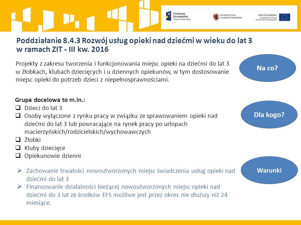 Poddziałanie 8.4.3 Rozwój usług opieki nad dziećmi w wieku do lat 3 w ramach ZIT - III kw.