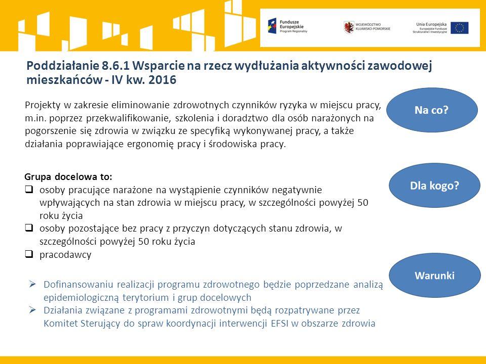 Poddziałanie 8.6.1 Wsparcie na rzecz wydłużania aktywności zawodowej mieszkańców - IV kw.