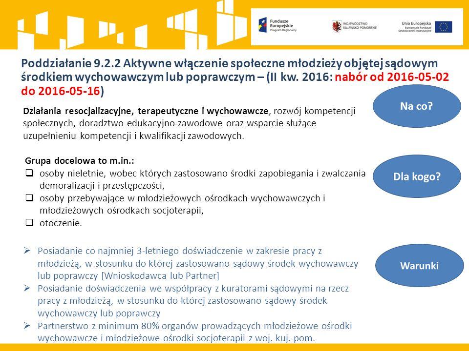Poddziałanie 9.2.2 Aktywne włączenie społeczne młodzieży objętej sądowym środkiem wychowawczym lub poprawczym – (II kw.