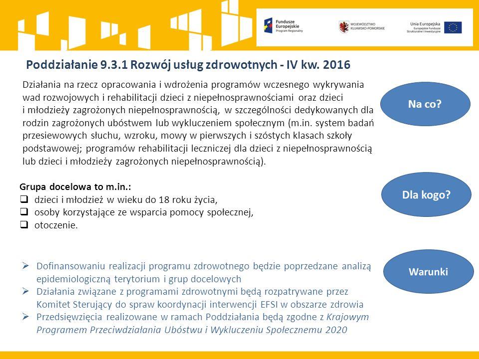 Poddziałanie 9.3.1 Rozwój usług zdrowotnych - IV kw.