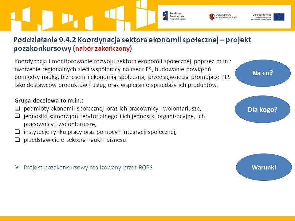 Poddziałanie 9.4.2 Koordynacja sektora ekonomii społecznej – projekt pozakonkursowy (nabór zakończony) Na co.