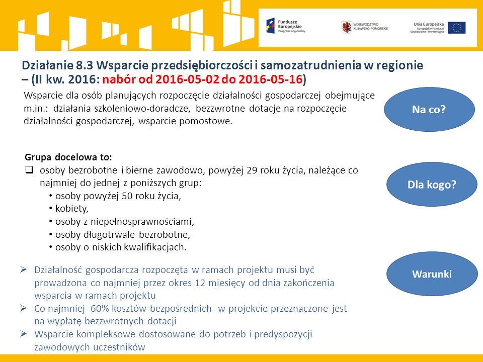Działanie 8.3 Wsparcie przedsiębiorczości i samozatrudnienia w regionie – (II kw.