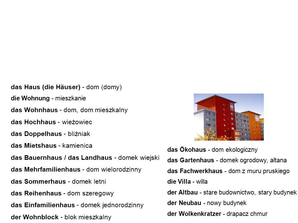 Wohnungssuche Poszukiwanie mieszkania die Anzeige - ogłoszenie die Ausstattung - wyposażenie die Wohnungssuche - poszukiwanie mieszkania der Quadratmeter - metr kwadratowy der Wohnort - miejsce zamieszkania die Adresse - adres der Eigentümer - właściciel die Miete - czynsz, najem der Mieter - najemca, lokator der Untermieter - sublokator, podnajemca der Vertrag - umowa der Mietvertrag - umowa najmu der Einzug - wprowadzenie się der Umzug - przeprowadzka der Auszug - wyprowadzka die Kaution - kaucja die Nebenkosten - koszty dodatkowe der Abstand - odstęp, odległość die Gebühr - opłata der Nachbar - sąsiad die Nachbarin - sąsiadka die Rechnung - rachunek die Kosten - koszty die Lebenshaltungskosten - koszty utrzymania Poniżej znajduje się słownictwo związane z poszukiwaniem oraz wynajmowaniem mieszkania.