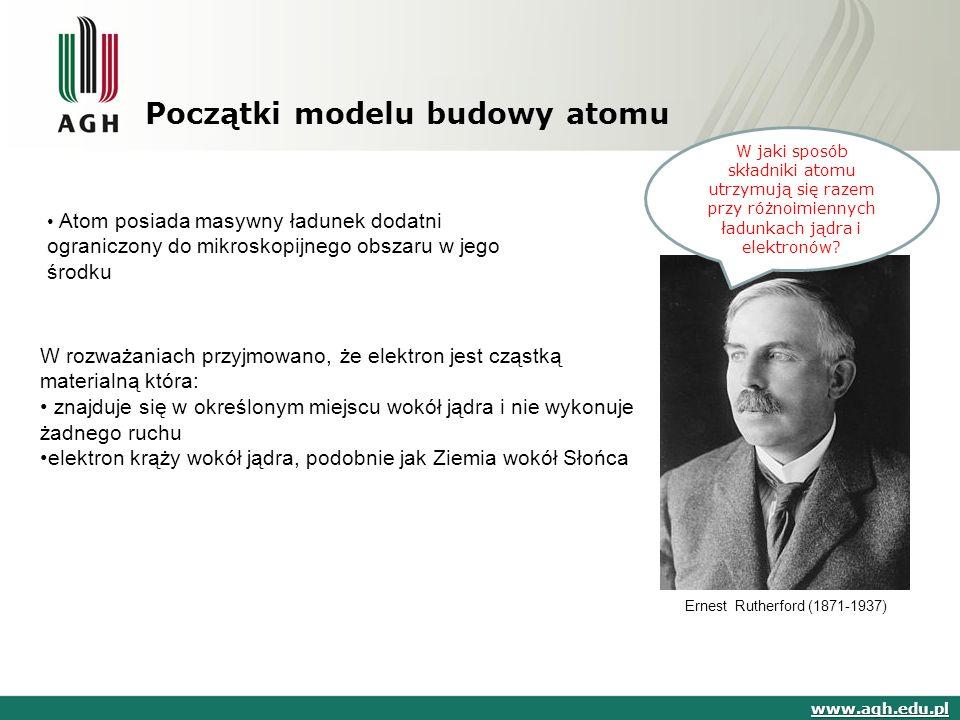Początki modelu budowy atomu www.agh.edu.pl Ernest Rutherford (1871-1937) Atom posiada masywny ładunek dodatni ograniczony do mikroskopijnego obszaru w jego środku W jaki sposób składniki atomu utrzymują się razem przy różnoimiennych ładunkach jądra i elektronów.