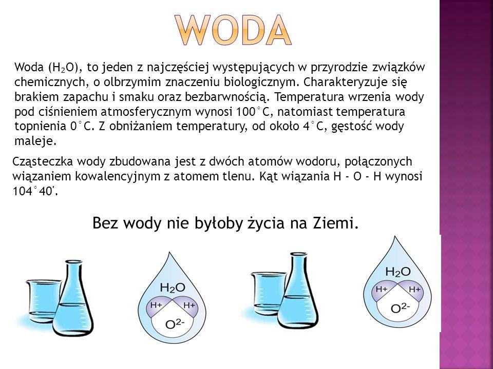 Woda (H ₂ O), to jeden z najczęściej występujących w przyrodzie związków chemicznych, o olbrzymim znaczeniu biologicznym.