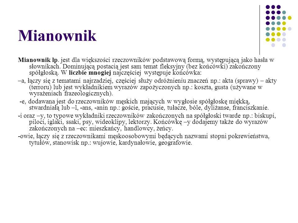 Mianownik Mianownik lp. jest dla większości rzeczowników podstawową formą, występującą jako hasła w słownikach. Dominującą postacią jest sam temat fle
