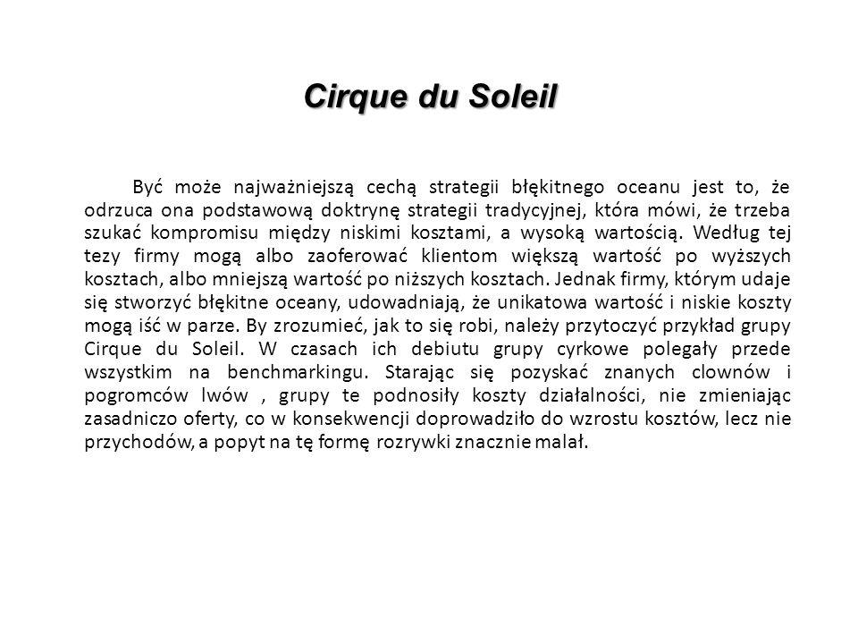 Cirque du Soleil Być może najważniejszą cechą strategii błękitnego oceanu jest to, że odrzuca ona podstawową doktrynę strategii tradycyjnej, która mówi, że trzeba szukać kompromisu między niskimi kosztami, a wysoką wartością.