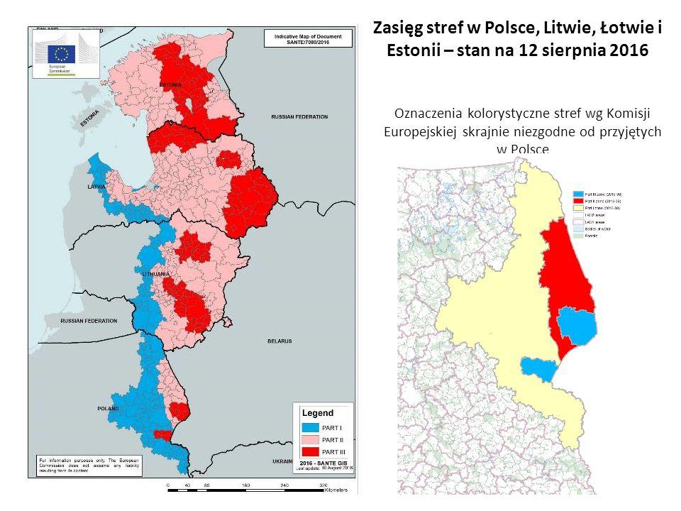 Oznaczenia kolorystyczne stref wg Komisji Europejskiej skrajnie niezgodne od przyjętych w Polsce Zasięg stref w Polsce, Litwie, Łotwie i Estonii – stan na 12 sierpnia 2016