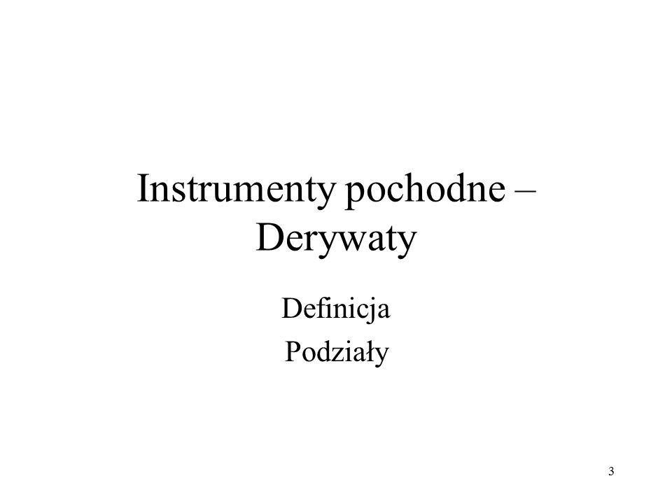 Instrumenty pochodne – Derywaty Definicja Podziały 3