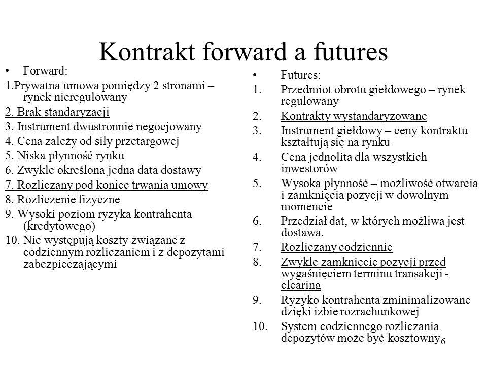 Kontrakt forward a futures Forward: 1.Prywatna umowa pomiędzy 2 stronami – rynek nieregulowany 2. Brak standaryzacji 3. Instrument dwustronnie negocjo