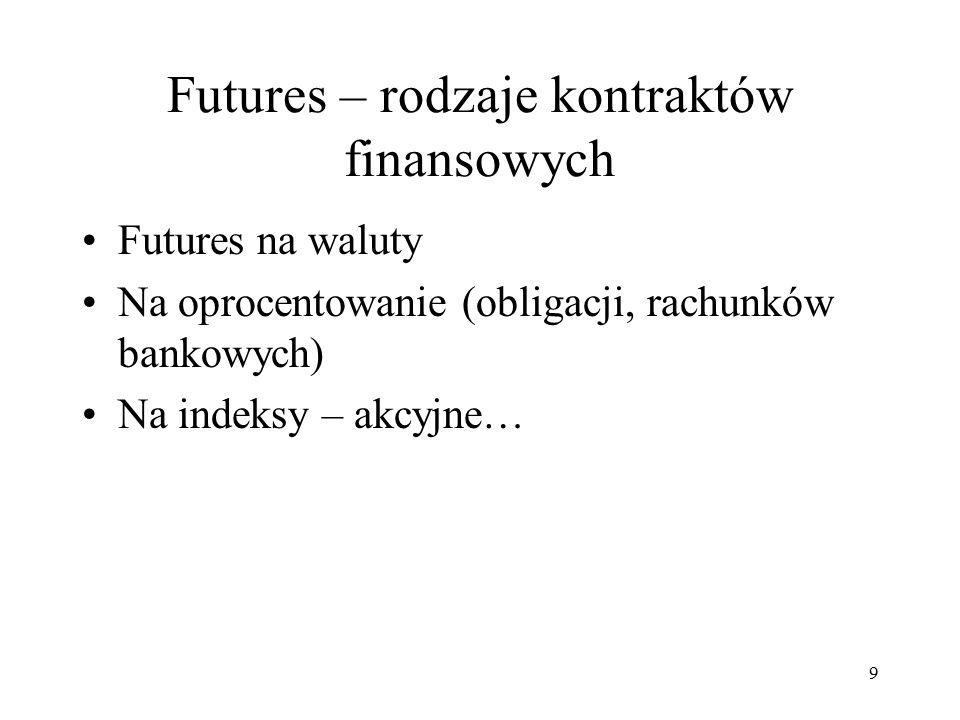 Futures – rodzaje kontraktów finansowych Futures na waluty Na oprocentowanie (obligacji, rachunków bankowych) Na indeksy – akcyjne… 9