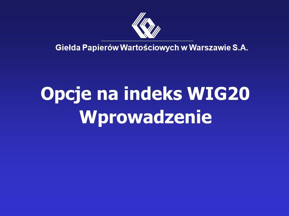 Opcje na indeks WIG20 Wprowadzenie Giełda Papierów Wartościowych w Warszawie S.A.