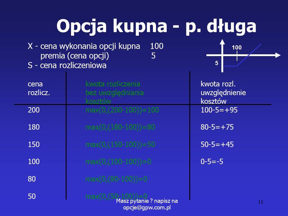 Masz pytanie . napisz na opcje@gpw.com.pl 11 Opcja kupna - p.