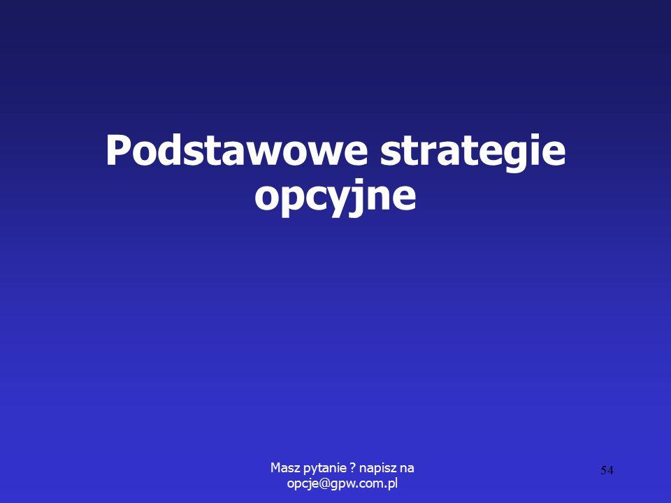 Masz pytanie ? napisz na opcje@gpw.com.pl 54 Podstawowe strategie opcyjne