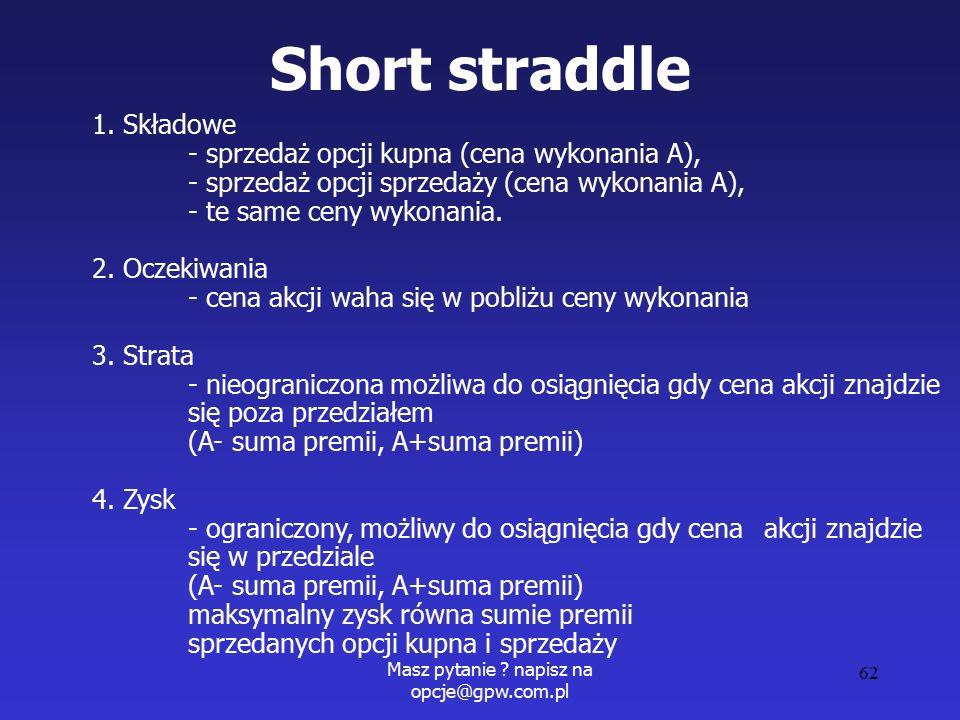 Masz pytanie . napisz na opcje@gpw.com.pl 62 Short straddle 1.