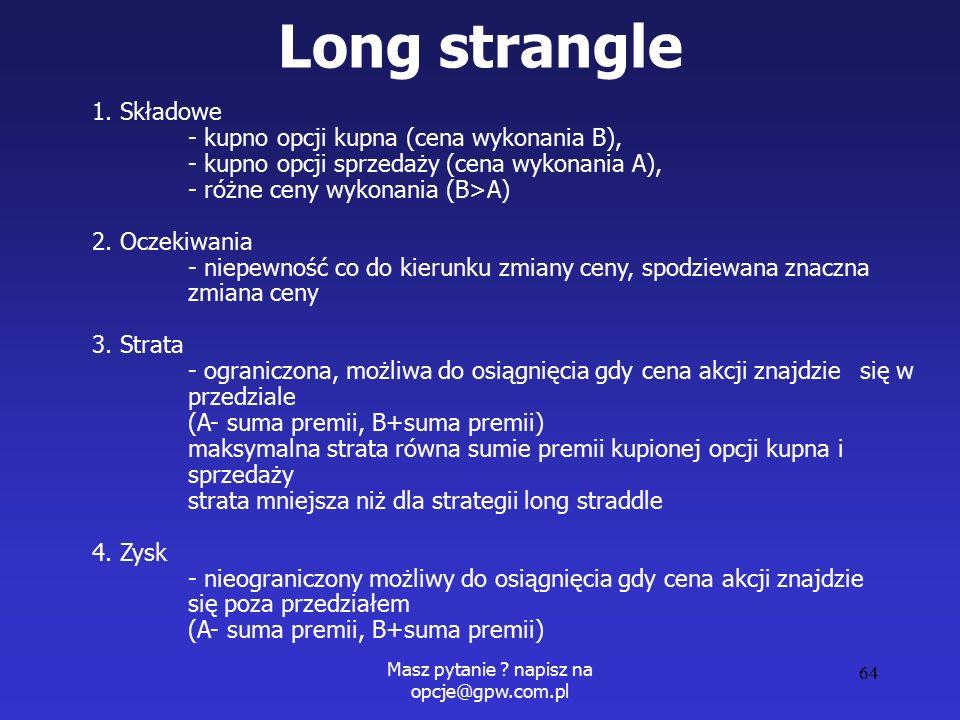 Masz pytanie . napisz na opcje@gpw.com.pl 64 Long strangle 1.
