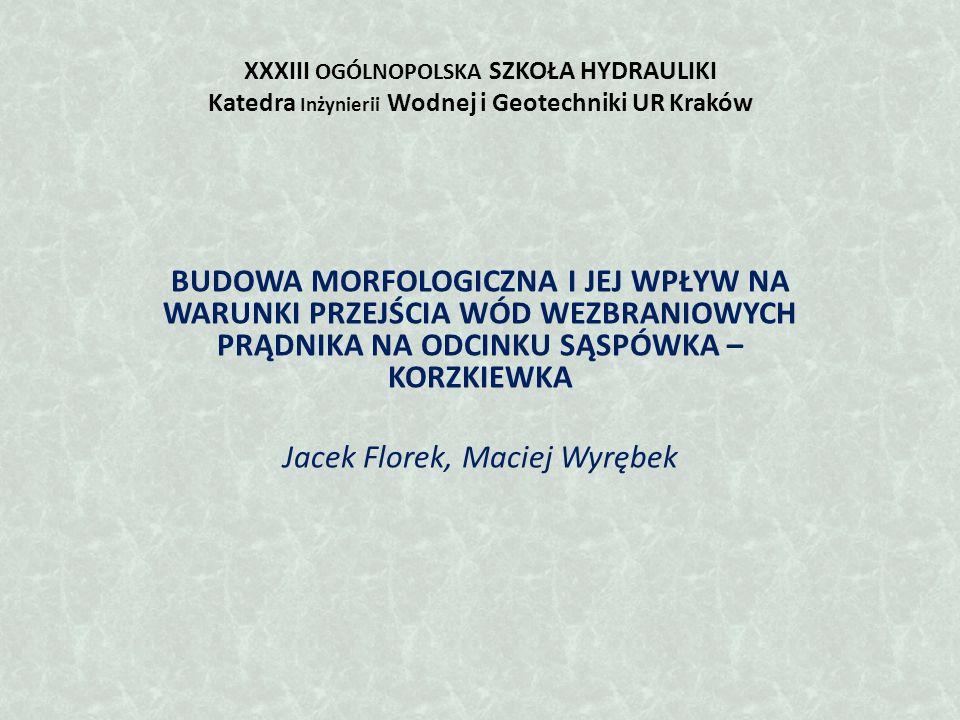XXXIII OGÓLNOPOLSKA SZKOŁA HYDRAULIKI Katedra Inżynierii Wodnej i Geotechniki UR Kraków BUDOWA MORFOLOGICZNA I JEJ WPŁYW NA WARUNKI PRZEJŚCIA WÓD WEZBRANIOWYCH PRĄDNIKA NA ODCINKU SĄSPÓWKA – KORZKIEWKA Jacek Florek, Maciej Wyrębek