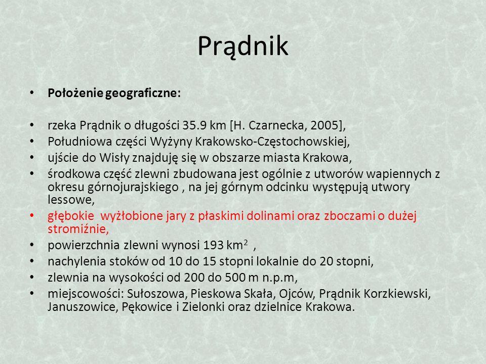 Prądnik Położenie geograficzne: rzeka Prądnik o długości 35.9 km [H. Czarnecka, 2005], Południowa części Wyżyny Krakowsko-Częstochowskiej, ujście do W
