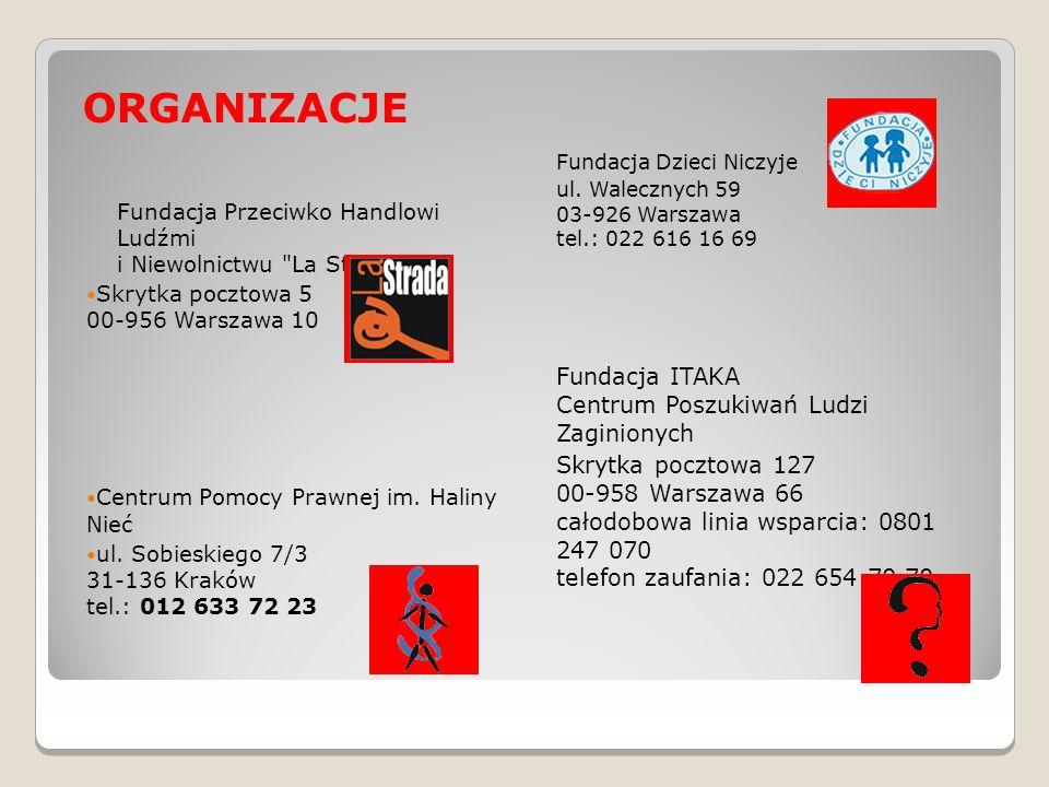 ORGANIZACJE Fundacja Dzieci Niczyje ul. Walecznych 59 03-926 Warszawa tel.: 022 616 16 69 Fundacja ITAKA Centrum Poszukiwań Ludzi Zaginionych Skrytka